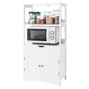 ✔BESTSELLER!!! Küchenwagen Mikrowellenhalter  Küchenschrank mit 2 Ablagen Küchenschrank 122x60x33cm weiß Hochschrank Badmöbel