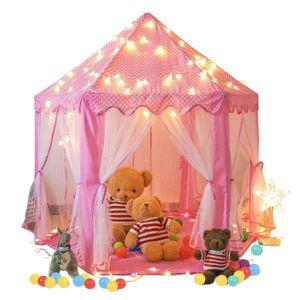 Mädchen Prinzessin Burg Kinder Zelt Hexagon Tipi Zelt Outdoor Kinderzelt Farbe: Pink Größe: 140x135cm Enthalten: Nur Zelt