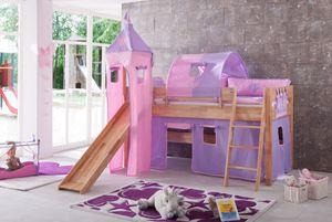 Relita - Halbhohes Spielbett Kim mit Rutsche, Turm, Tasche und Tunnel, Buche massiv natur lackiert geplankte Optik, mit Stoffset purple/rosa/herz