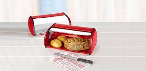 Edelstahl Brotkasten 42,5cm Aufbewahrung Brotbox Frischhaltebox Brotbehälter rot