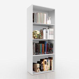 Bücherregal Wandregal Bücherschrank Bücherwand Regal Weiß 4 Fächer Aktenregal Bücher Standregal Regalwand Medienregal Aufbewahrung