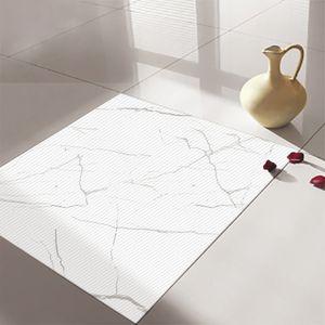 4 Stück 50x50cm wasserdichte Bodenwandaufkleber Selbstklebendes Nachbildung,Farbe: Schneemarmor