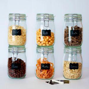 6 x Creative Home Gläser mit Bügelverschluss   1 Liter   Einmachgläser Drahtbügel-glas Aufbewahrungsgläser mit Gummiring und Deckel   8 Wiederverwendbare Aufkleber + 1 Anti-Staub-Kreide