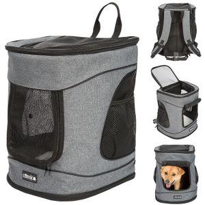 Cadoca Haustier Rucksack Hunderucksack  Transport für Hunde und Katzen mit Leine und Taillengurt, Farbe:Grau