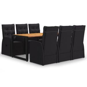 Gartenmöbel Essgruppe 6 Personen ,7-TLG. Terrassenmöbel Balkonset Sitzgruppe: Tisch mit 6 Stühle, Schwarz❀6713