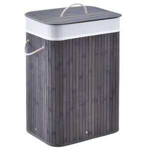 Juskys Bambus Wäschekorb Curly mit Deckel – Wäschesammler 72 Liter – Stoff Wäschesack herausnehmbar & waschbar – Wäschetonne mit Griffen – grau