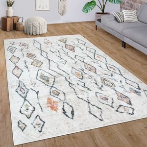 Teppich Wohnzimmer Kurzflor Rauten Ethno Boho 3D Muster Modern In Creme Bunt, Grösse:80x150 cm