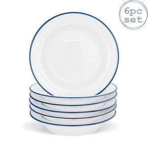 Farmhouse - Suppenschüssel mit breitem Rand - Weiß/Blau - 22 cm - 6 Stück