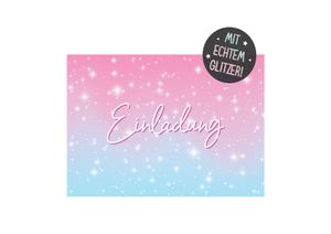 Friendly Fox Glitzer Sterne Einladung - 12 Glitzer Einladungskarten zum Geburtstag Kinder Mädchen - Einladung Kindergeburtstag - Regenbogen-Party - Glitzer Karte