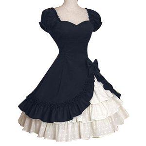 Lady Retro Falbala Grosse Schaukel Bowknot Mittelalterliche Lolita Kleid Cosplay Kostuem Dunkelblau XL