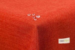 Tischdecke Leinenoptik Lotuseffekt abwaschbar mit gerader Saumkante160x160 eckig in terracotta/orange