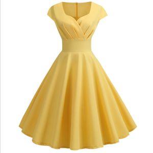 Einfarbig Damen Cap Sleeves 1950er Retro Vintage Cocktail Swing Kleider Gelb XXL