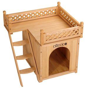 Katzenhaus mit Balkon Katzenhöhle Holz 2 Etagen
