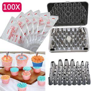 Melario 100 Spritzbeutel +52 Garniertülle Spritztüllen Tüllen Blumennagel Set Torte Deko