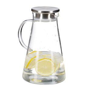 relaxdays Glaskaraffe mit Deckel 1,8 Liter