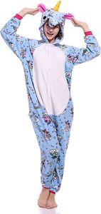 HLLCY  Damen Schlafanzug Einhorn Onesie Weich Flanell Anime Cartoon Stil Jumpsuit Schlafanzug Einhorn Kostm für Cosplay Fasching Halloween Performance Drucken-a M(156-164cm)