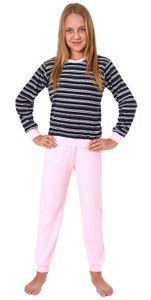Mädchen Frottee Pyjama langarm Schlafanzug mit Bündchen in Streifenoptik - 291 401 13 569, Farbe:marine, Größe:134/140