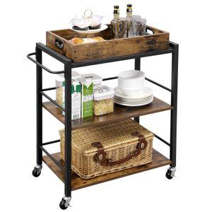 VASAGLE Servierwagen mit abnehmbarem Tablett, feststellbarer Küchenwagen mit Rollen, 65 x 40 x 86 cm, Küchenregal, Vintage, dunkelbraun LRC72X