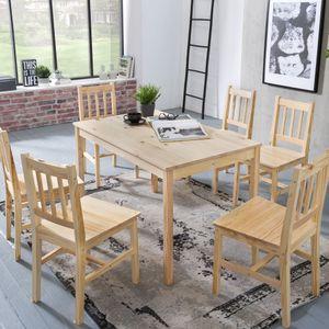 WOHNLING Esszimmer-Set 7 teilig Kiefer-Holz Landhaus-Stil 120 x 73 x 70 cm | Natur Essgruppe 1 Tisch 6 Stühle | Tischgruppe Esstischset 6 Personen | Esszimmergarnitur massiv