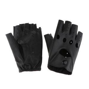 Damen Lederhandschuhe fingerlos Fingerhandschuhe Leder-Handschuhe Biker Fingerlinge Halbfinger Handschuhe - Länge 15,5cm