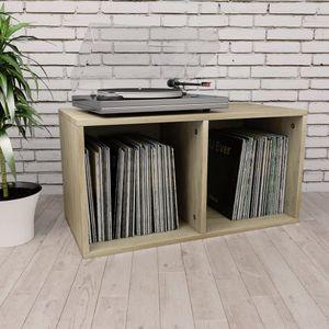 Gute® Schallplatten-Aufbewahrungsbox Sonoma Eiche 71×34×36 cm Aufbewahrung Regal DVD Bücherregal Modernem Design für Wohnzimmer,BÜRO⭐DE