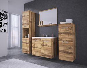 Badmöbel 4-Teilig Set MOLO Wotan Eiche Farbe mit Waschbecken