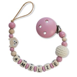 Schnullerkette mit Motiven für Babys mit Namen, Farbe:rosa Häkelperle