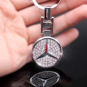 Auto Logo Schlüsselanhänger Metall Inlay Glänzender Diamant Doppelseitiges Logo Komm mit Geschenkbox, Für Mercedes Benz