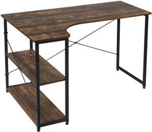WOLTU Z-DES34wdrts Schreibtisch Computertisch Büromöbel PC Tisch Bürotisch Arbeitstisch aus Holz und Stahl, mit Ablage, ca 120x74x71,5 cm schwarz-vintage