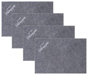 """4 Stück Tischsets aus Filz in Grau mit Spruch """"Für meine Lieblingsgäste"""""""