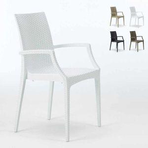 Sessel Stühle Gartenstühle Terrasse Bistrot Arm Grand SoleilFarbe: Weiß, Einheit: 1 Stück, Höhe (cm): 89, Breite (cm): 57, Tiefe (cm): 53,5, Gewicht: 3,4 kg, Zusammensetzung: Polyrattan, Modelle: BISTROT, Eigenschaften: Stapelbar