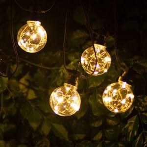 Aigostar Led Lichterkette Außen, Wasserdicht 8m 10 Birnen Warmweiß, Weihnachtslichter Strombetrieben, Innen & Außendekoration für Tannenbaum, Balkon, Garten, Party, Hochzeit, Weihnachten
