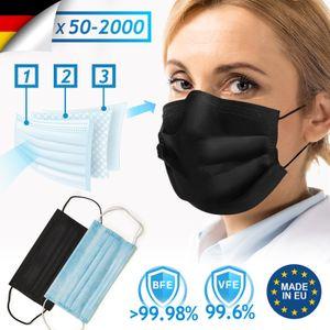 Virshields® Medizinischer Mundschutz - Typ II/IIR, BFE 99,98% / VFE 99,6%, DIN EN 14683,  EU, 50-2000 STK, 3-lagig, Farbwahl - OP Masken, Mund und Nasenschutz, Einweg Gesichtsmaske, Einwegmasken (Schwarz, 50 Stück)