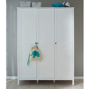 Baby- und Jugendzimmer Kleiderschrank 3-türig Ole Weiß Melamin 141 x 192 cm
