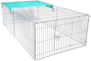 EUGAD Hasengehege Freigehege Kaninchenstall Freilauf Kleintiergehege mit Ausbruchsperre Sonnenschutz 216x116x65cm 0002TSL