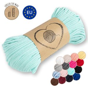 Kordel baumwolle Baumwollkordel 5 mm - Baumwollgarn Baumwollschnur Schnur NATUR GARN deko für makramee 50 Meter MINZE