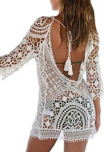 Damen Strandkleid Rückenfrei Sommer Kleider Kurz Bikini Cover Up Strand Badeanzug Beach Kleid Schöne Spitze Strandkleider für