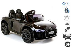 Elektroauto Audi R8 Small, Schwarz, Originallizenz, Batteriebetrieben, Türen öffnend, 2x 25 W Motor, 12 V Batterie, 2,4 GHz Fernbedienung, weiche EVA-Räder, Federung, Sanftanlauf