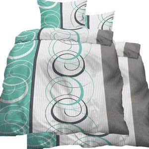 4-tlg. Seersucker Bettwäsche 2x (135x200 +80x80cm), grün grau weiss, Kringel Muster, bügelfrei, Microfaser