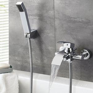 Badezimmer Wannenrand Badewannenarmatur Wasserfall mit Handbrause, Duschset Badewannen Armatur Wasserhahn
