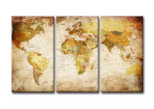 120 x 80 cm Bild auf Leinwand Weltkarte 4401-SCT deutsche Marke und Lager  -  Die Bilder / das Wandbild / der Kunstdruck ist fertig gerahmt