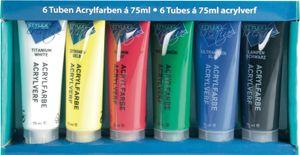 Stylex 28653 Acrylfarbe matt 6er-Set Farben in Tube à 75 ml