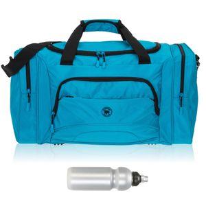 Sporttasche Damen Herren Elephant Color Big 55 cm 40 L Nassfach Reisetasche Sport Fitness Sauna Tasche groß 1296 Blau + Trinkflasche