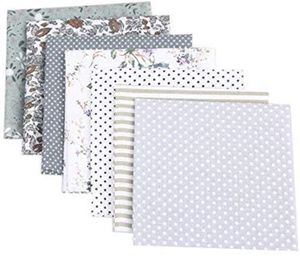 7 Stück Patchwork Stoffe Blume Baumwollstoff Set Stoffpaket DIY Baumwolltuch Stoffreste Paket Stoffpakete (Grau,50 * 50cm)