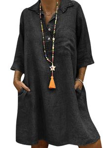 Damen V-Ausschnitt Kurzarm Boho Loose Shirt Kleid Knopf Knopf Taschen,Farbe: Schwarz,Größe:XL