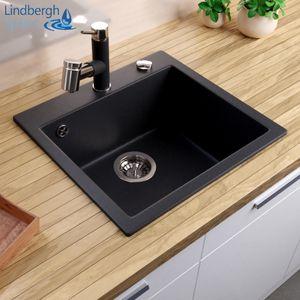 """LINDBERGH® Granitspüle Schwarz """"COL11"""" inkl. Siphon Küchenspüle Einbauspüle Küche Spülen"""