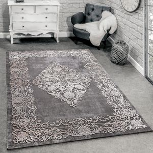 Designer Teppich Modern Wohnzimmer Teppiche 3D Barock Muster In Grau Beige Creme, Grösse:160x230 cm