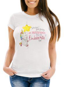 Damen T-Shirt Einhorn Ich bin jetzt fertig mit erwachsen werden lass und Einhörner sein Slim Fit Moonworks® weiß L