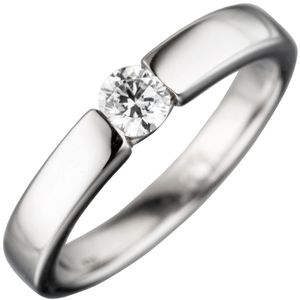 JOBO Damen Ring 925 Sterling Silber rhodiniert 1 Zirkonia Silberring Größe 58