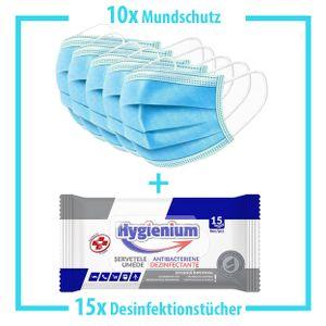 10x Mundschutz + 15x Desinfektionstücher Hände Desinfektionsmittel Atemschutzmaske